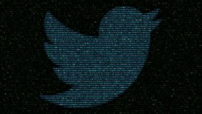 Twitter-embleem van opvlammende hexadecimale symbolen op het computerscherm dat wordt gemaakt Het redactie 3D teruggeven stock footage