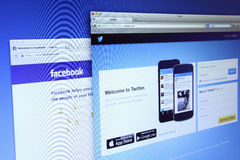 Twitter and Facebook homepage Stock Images