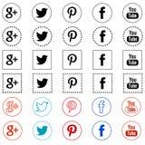 Twitter facebook youtube google plus pinterest Stock Photo