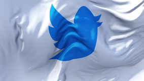 Twitter Flag Waving in Wind Continuous Seamless Loop Background. vector illustration
