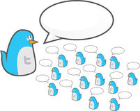 Twitter follower birds. An illustration of a large twitter bird and it's followers Royalty Free Stock Photos