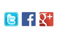 Twitter Google de Facebook plus Photo stock