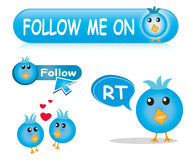 Twitter Icon & Button Set Stock Photography
