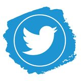 Twitter icon grunge style vector stock photo