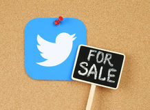 Twitter icon pinned on cork bulletin board. Kiev, Ukraine - September 07, 2016: Twitter icon printed on paper and pinned on cork bulletin board with wooden label Royalty Free Stock Photo