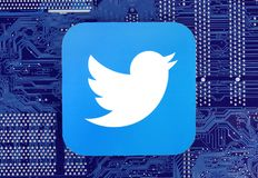 Twitter icon placed on circuit board royalty free stock photos