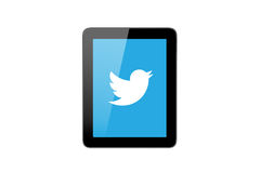 Twitter Icon on Tablet Pc. ISTANBUL, TURKEY - MAY 2, 2015: Close up front view of popular social media website twitter which was established in 2006 by Jack Royalty Free Stock Photos