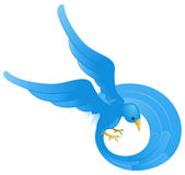 Twitter ing blue bird icon Royalty Free Stock Images