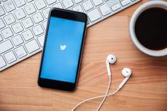 Twitter ist ein on-line-Social Networking und ein microblogging Service Lizenzfreies Stockbild