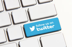 Twitter. Johor, Malaysia - Jun 14, 2014: Follow us on Twitter icon on keyboard button, Twitter is a popular free social networking website in the world, Jun 14 Stock Photography
