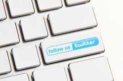 Twitter. Johor, Malaysia - Jun 14, 2014: Follow us on Twitter icon on keyboard button, Twitter is a popular free social networking website in the world, Jun 14 royalty free stock image