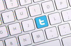 Twitter keyboard. Johor, Malaysia - Sep 13, 2013: Twitter icon on the keyboard. Twitter is famous website in the world, Sep 13, 2013 in Johor, Malaysia Stock Photos