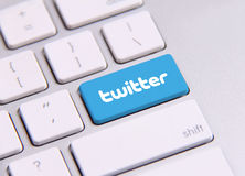 Twitter keyboard. Johor, Malaysia - Sep 13, 2013: Twitter icon on the keyboard. Twitter is famous website in the world, Sep 13, 2013 in Johor, Malaysia Royalty Free Stock Images