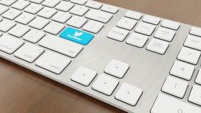 Twitter keyboard. Social Media keyboard Concept, 3d design render twitter key Royalty Free Stock Images