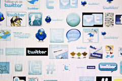 Twitter logo. Different design of twitter's logo displayed on computer screen Stock Photos