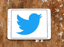 Twitter logo. Twitter application logo and vector on samsung tablet royalty free stock photo
