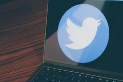 Twitter logo on laptop screen. Dallas, Texas/ United States - 05/10/2018: Photograph of twitter logo on laptop screen Royalty Free Stock Photo