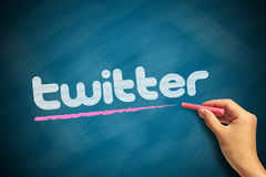 Twitter Logo. With a red chalk in hand on chalkboard royalty free stock photography