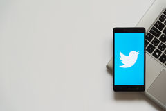 Twitter logo on smartphone screen. Bratislava, Slovakia, April 28, 2017: Twitter logo on smartphone screen placed on laptop keyboard. Empty place to write royalty free stock images