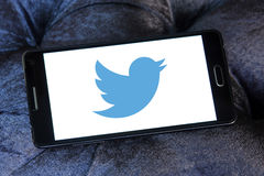 Twitter logo. Twitter social networking logo and vector on samsung mobile phone a5 stock photos