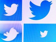 Twitter logoer arkivbild