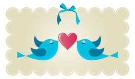 Twitter love couple birds. Two twitter birds fall in love holding a red heart background. Vector file available Royalty Free Stock Images