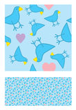 Twitter seamless tile pattern. Seamless tile pattern with hearts and blue bird Twitter theme suitable as background Stock Photos