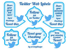Twitter sharing labels and buttons Stock Photo