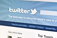 Twitter website. Displayed on computer screen Royalty Free Stock Photography