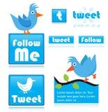 Twitterikonen Lizenzfreie Stockbilder