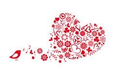 Twittering bird. With flower heart Stock Image