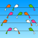 Twittering birds. Colorful birds sitting on a wire (copy space on several wires Stock Photography