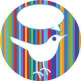 Twittervogel auf bunten Zeilen Stockfotos