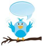 Twittervogel mit Spracheluftblase Lizenzfreies Stockfoto