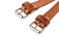 Two вrown leather belt. Royalty Free Stock Photo