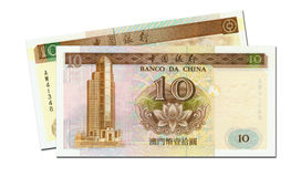 Two 10 pataka banknotes of Macau Stock Image