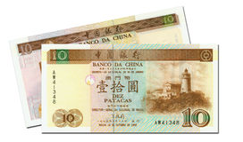 Two 10 pataka banknotes of Macau Royalty Free Stock Image