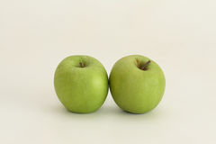 Two. Green apples on a white background Royalty Free Stock Image