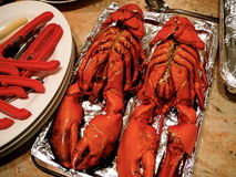 Two 3 Pound Lobsters Set Out For Cooking Stock Photos