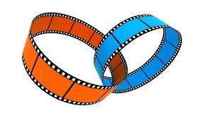 Two 3d blank films ring. S over white background Stock Photos