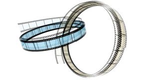 Two 3d blank films ring. S over white background Stock Images