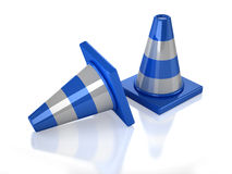 Two 3D blue stripped cones. With white background Stock Image