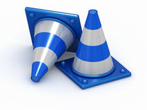 Two 3D Blue Stripped Cones Royalty Free Stock Photography