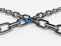 Two 3d chains connected with one link Stock Image