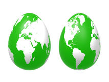 Two 3d eggs world in green Royalty Free Stock Photos
