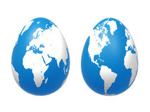 Two 3d Eggs World In Blue Royalty Free Stock Image