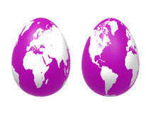 Free Two 3d Eggs World In Violet Stock Image - 8913321