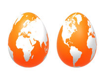 Two 3d eggs world in orange Stock Image