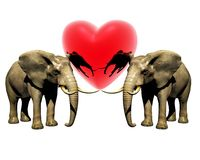 Two 3d elephant with red heart Royalty Free Stock Photo