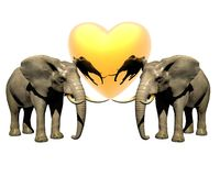 Two 3d Elephant With Red Heart